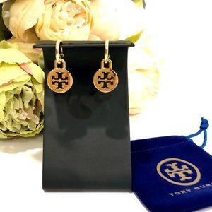 TORY BURCH logo charm small hoop earrings NWT